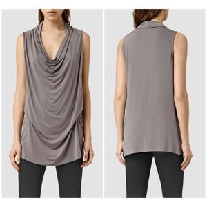 AllSaints Amei Sleeveless Tunic Top in Silky Gray
